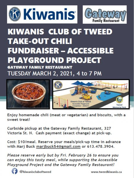 Kiwanis Take-out Chili Fundraiser -  Accessible Playground Project