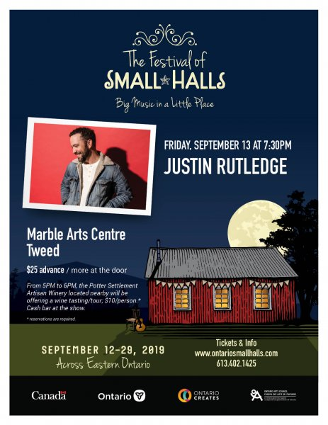 Justin Rutledge - Ontario Festival of Small Halls at the Marble Arts Centre