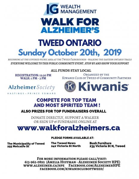 3rd Annual Tweed 'Walk for Alzheimer's' Event
